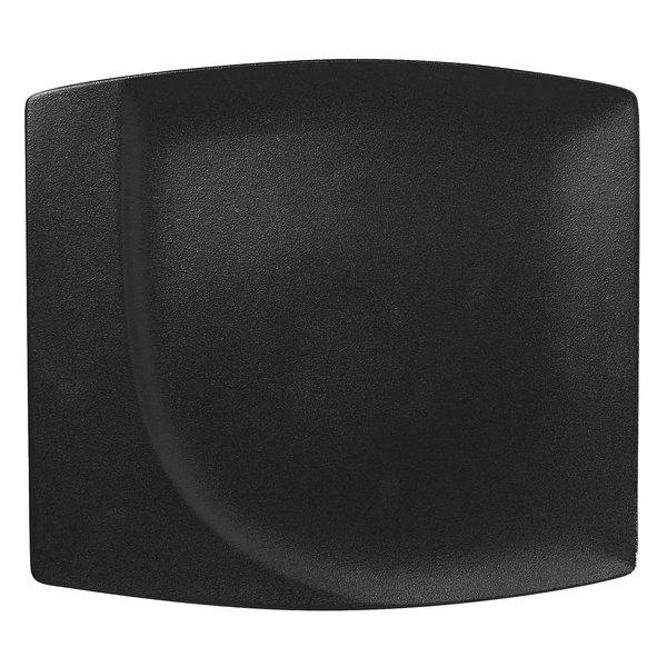 "RAK Porcelain NFMZSP32BK Neo Fusion 12 9/16"" Volcano Black Porcelain Square Flat Plate - 6/Case"