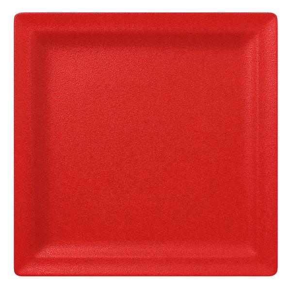 "RAK Porcelain NFCLSP30BR Neo Fusion 11 13/16"" Ember Red Porcelain Square Flat Plate - 6/Case"