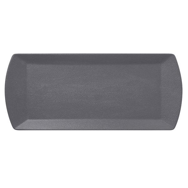 "RAK Porcelain NFOPSP35GY Neo Fusion 13 13/16"" x 5 7/8"" Stone Gray Porcelain Sandwich Tray - 12/Case Main Image 1"
