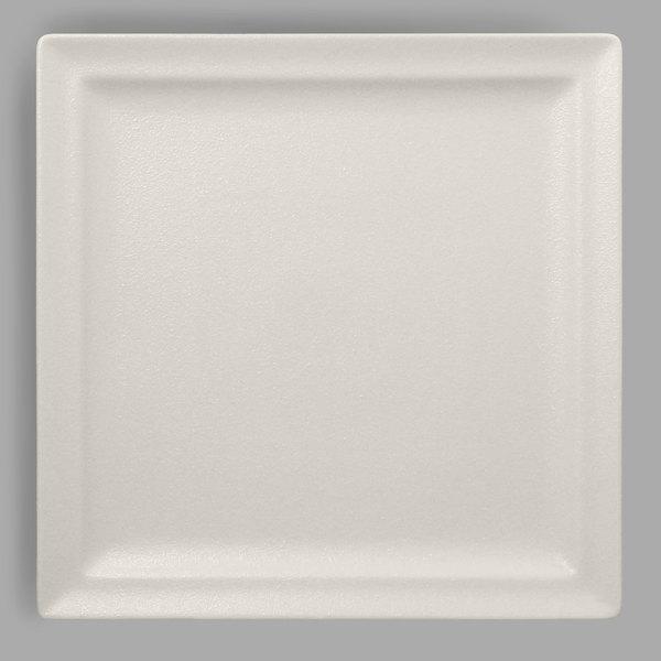 """RAK Porcelain NFCLSP30WH Neo Fusion 11 13/16"""" Sand White Porcelain Square Flat Plate - 6/Case"""