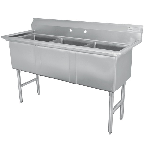 """Advance Tabco FC-3-1515 Three Compartment Stainless Steel Commercial Sink - 50"""""""