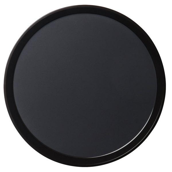 "Cambro PT1400110 Black 14"" Round Polytread Serving Tray"