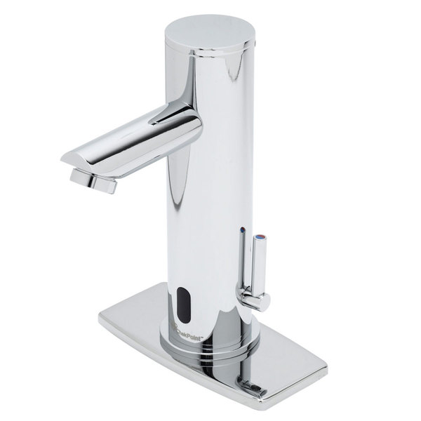 """T&S EC-3122-4DP Deck Mount ChekPoint Automatic Hands Free Faucet with 144"""" Long Power Cord and 4"""" Deck Plate"""