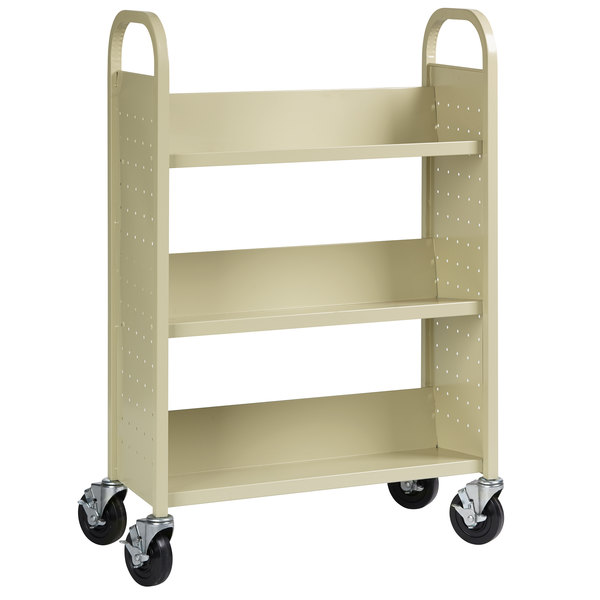 "Hirsh Industries 21788 30 3/4"" x 13"" x 46 1/4"" Putty 3-Shelf Book Cart Main Image 1"