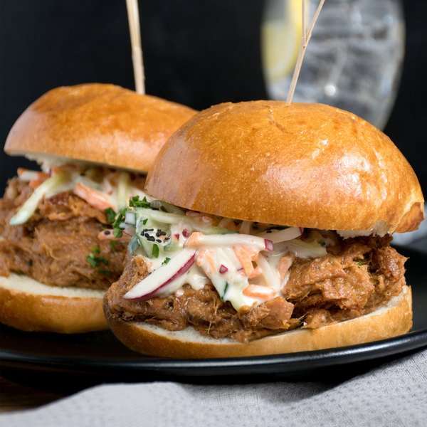 Brookwood Farms 5 lb. Frozen Pulled Pork BBQ with JJ's Red Sauce - 4/Case