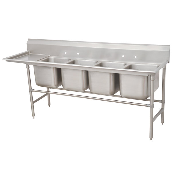 Left Drainboard Advance Tabco 94-64-72-36 Spec Line Four Compartment Pot Sink with One Drainboard - 121""