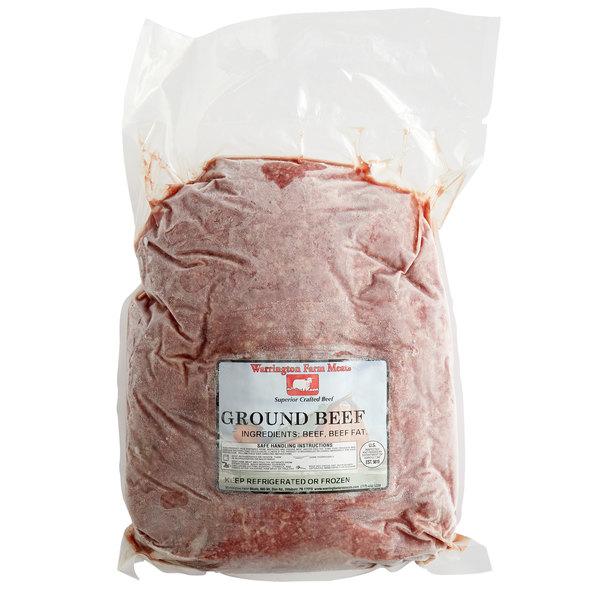 Warrington Farm Meats 5 lb. Frozen Ground Beef 80% Lean 20% Fat - 4/Case