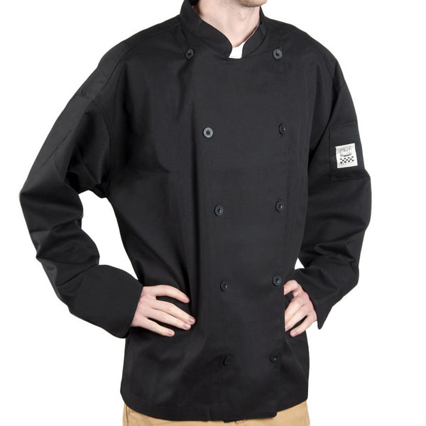 Chef Revival Gold J030BK-2X Chef-Tex Size 52 (2X) Black Customizable Poly-Cotton Traditional Chef Jacket
