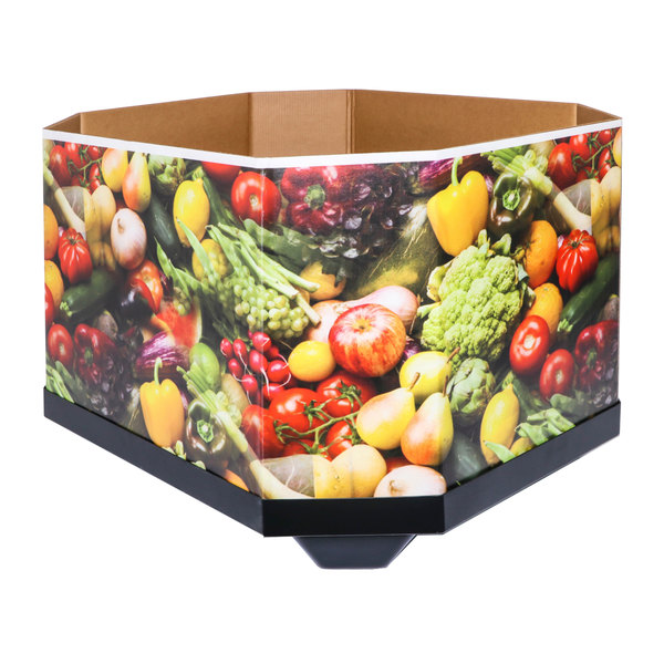 large cardboard bin with fruit and vegetable graphics