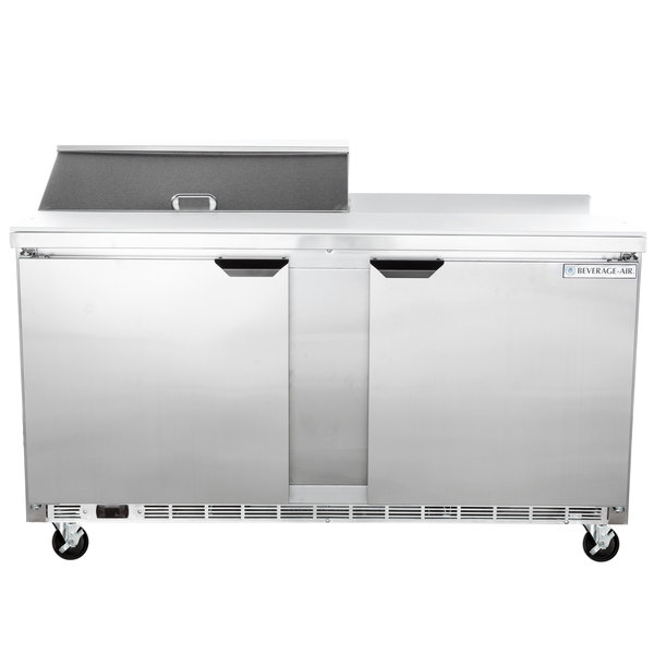 """Beverage-Air SPE60HC-08 Elite Series 60"""" 2 Door Refrigerated Sandwich Prep Table"""