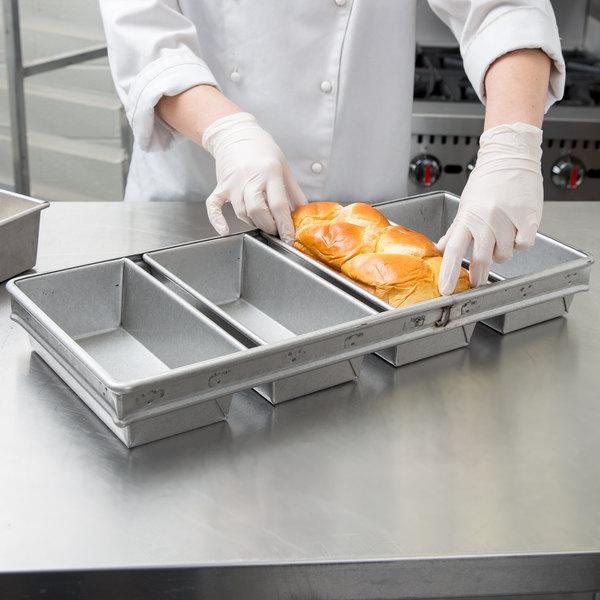 "Chicago Metallic 45642 1 lb. Customizable 4-Strap Open Top Glazed Bread Pan - 9"" x 4 1/2"" x 2 3/4"""