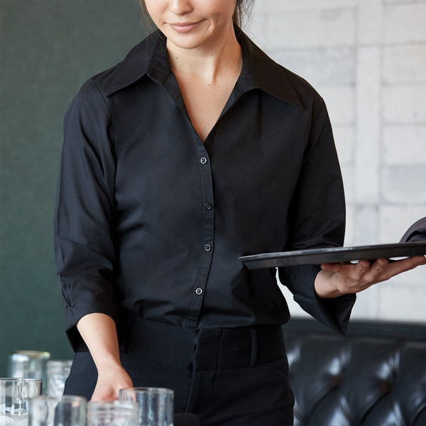 Henry Segal Women's Customizable Black 3/4 Sleeve V-Neck Button-Down Dress Shirt - XS Main Image 1