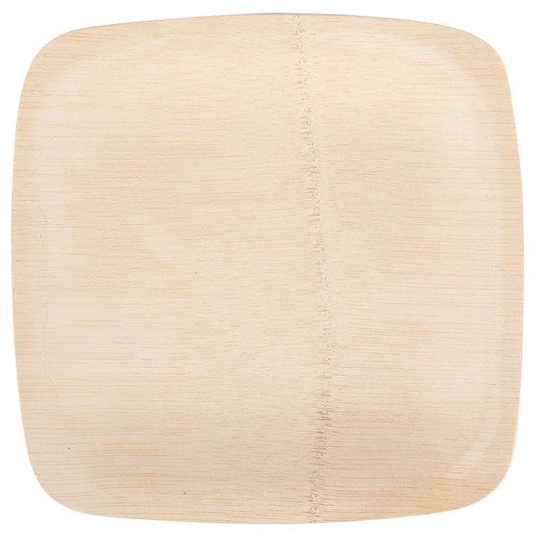 Bambu 063100 7 inch Disposable Square Bamboo Plate - 100/Box