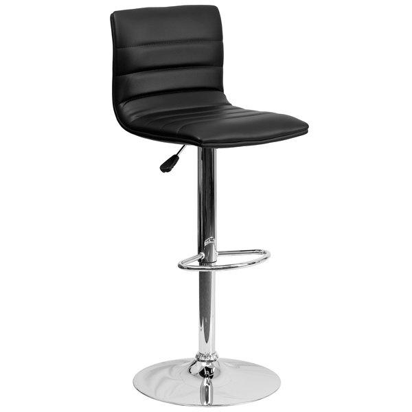 Flash Furniture CH-92023-1-BK-GG Black Vinyl Contemporary Adjustable Height Barstool