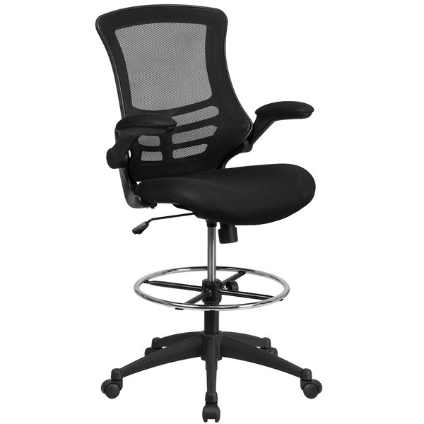 """Flash Furniture BL-X-5M-D-GG Mid-Back Black Mesh Drafting Chair with 20"""" Adjustable Foot Ring and Flip Up Arms Main Image 1"""