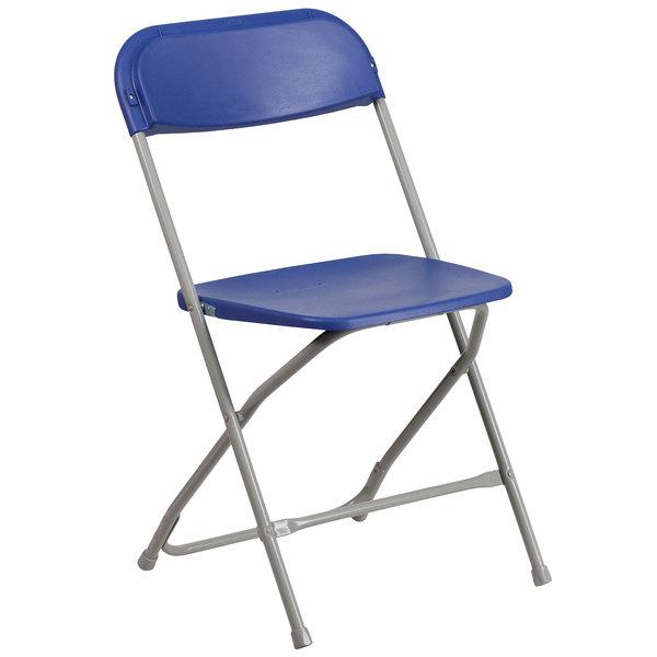 Flash Furniture LE-L-3-BLUE-GG Hercules Series Premium Blue Plastic Folding Chair Main Image 1
