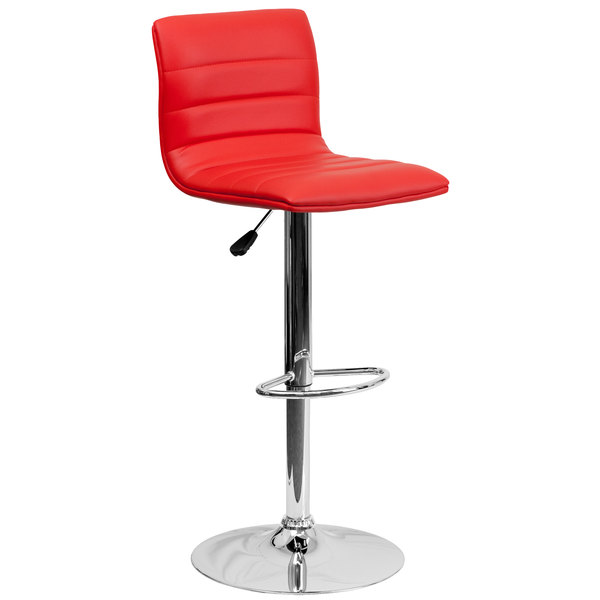 Flash Furniture CH-92023-1-RED-GG Red Vinyl Contemporary Adjustable Height Barstool