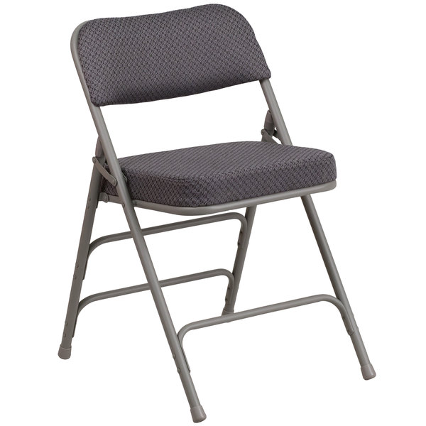 Flash Furniture AW-MC320AF-GRY-GG Hercules Series Premium Curved Triple Braced & Double Hinged Gray Fabric Metal Folding Chair Main Image 1
