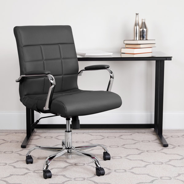 Pleasant Flash Furniture Go 2240 Bk Gg Mid Back Black Quilted Vinyl Office Chair Ocoug Best Dining Table And Chair Ideas Images Ocougorg