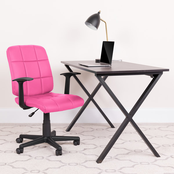 Astounding Flash Furniture Go 1691 1 Pink A Gg Mid Back Pink Quilted Vinyl Office Chair Task Chair With Arms Ocoug Best Dining Table And Chair Ideas Images Ocougorg
