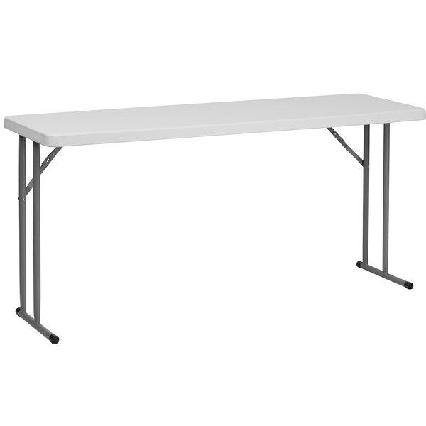 "Flash Furniture RB-1860-GG 18"" x 60"" Rectangular Granite White Plastic Folding Training Table"