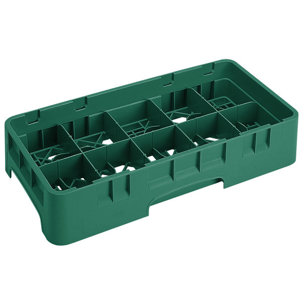 "Cambro 10HS434119 Sherwood Green Camrack 10 Compartment 5 1/4"" Half Size Glass Rack Main Image 1"