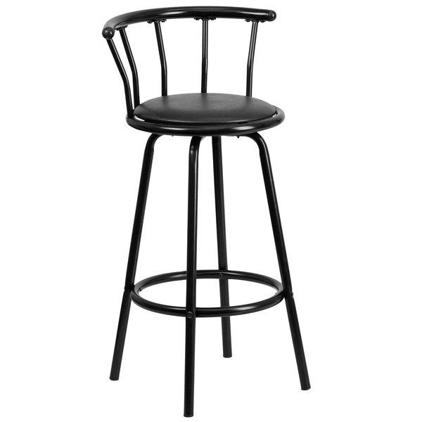 Flash Furniture YB-Y-J909-KD-GG Black Vinyl Crown Back Metal Barstool With Swivel Seat