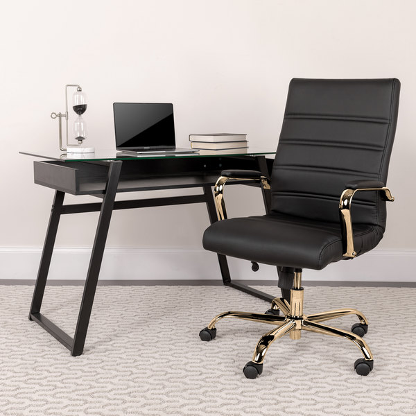 Amazing Flash Furniture Go 2286H Bk Gld Gg High Back Black Leather Swivel Office Chair With Gold Base And Arms Ibusinesslaw Wood Chair Design Ideas Ibusinesslaworg