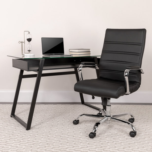 Fabulous Flash Furniture Go 2286H Bk Gg High Back Black Leather Swivel Office Chair With Chrome Base And Arms Pdpeps Interior Chair Design Pdpepsorg