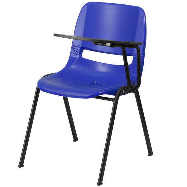 Flash Furniture RUT-EO1-BL-LTAB-GG Blue Ergonomic Shell Chair with Left Handed Flip-Up Tablet Arm Main Image 1