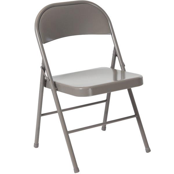 Flash Furniture BD-F002-GY-GG Hercules Series Double Braced Gray Metal Folding Chair Main Image 1