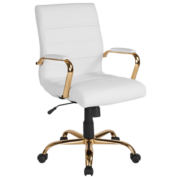 Swell Flash Furniture Go 2286M Wh Gld Gg Mid Back White Leather Swivel Office Chair With Gold Base And Arms Ibusinesslaw Wood Chair Design Ideas Ibusinesslaworg