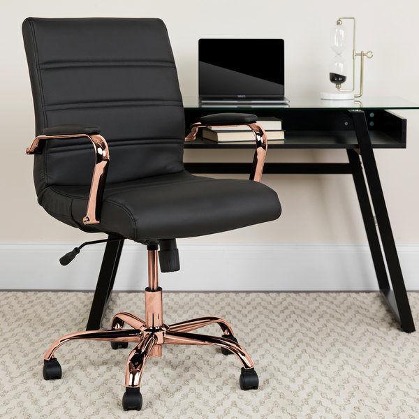 Remarkable Flash Furniture Go 2286M Bk Rsgld Gg Mid Back Black Leather Swivel Office Chair With Rose Gold Base And Arms Pdpeps Interior Chair Design Pdpepsorg
