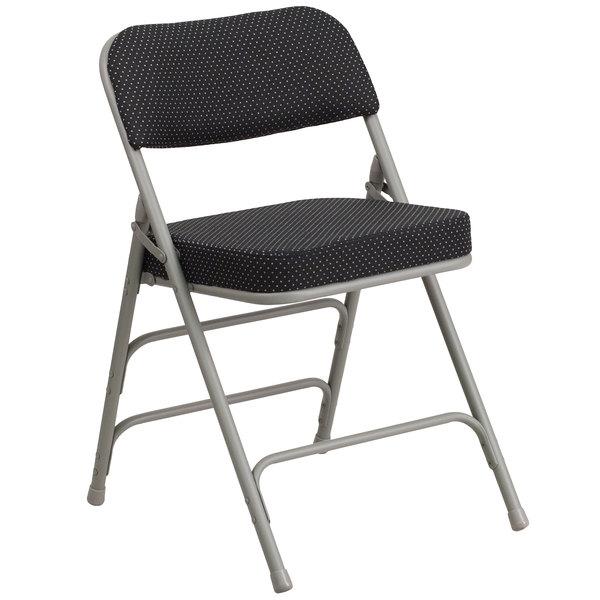 Flash Furniture AW-MC320AF-BK-GG Hercules Series Premium Curved Triple Braced & Double Hinged Black Pin-Dot Fabric Metal Folding Chair Main Image 1