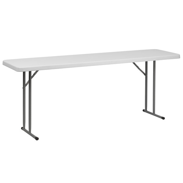 Flash Furniture RB-1872-GG 18 inch x 72 inch Rectangular Granite White Plastic Folding Training Table