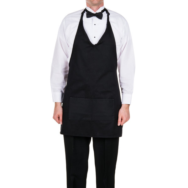 "Choice Black Tuxedo Apron with Pockets 32""L x 29""W"