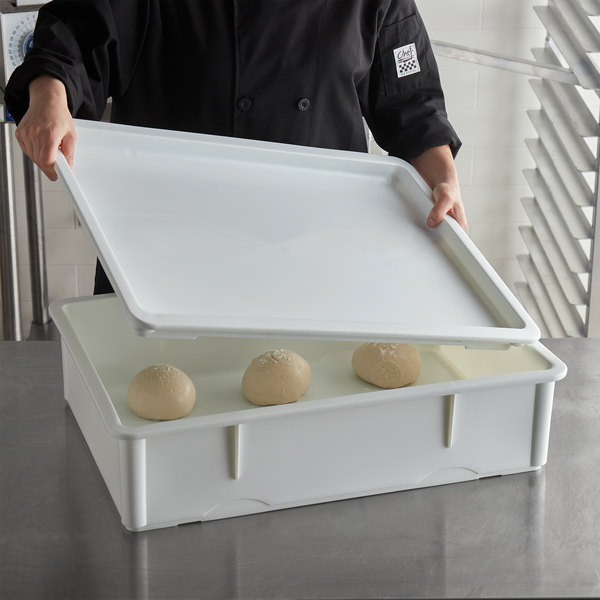 "Baker's Mark 18"" x 26"" White Heavy-Duty Polypropylene Dough Proofing Box Lid"