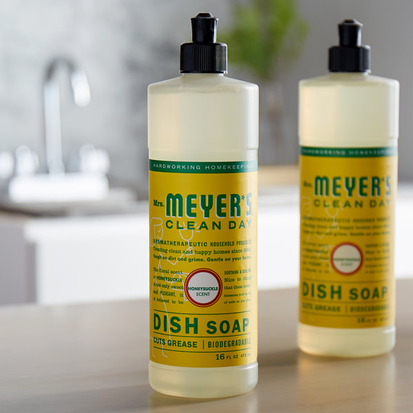 Mrs. Meyer's Clean Day 651376 16 oz. Honeysuckle Scented Dish Soap - 6/Case Main Image 3