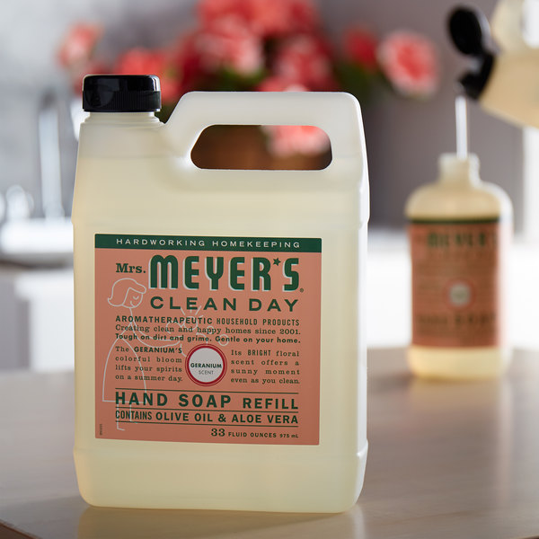 Mrs. Meyer's Clean Day 651341 33 oz. Geranium Scented Hand Soap Refill - 6/Case Main Image 3