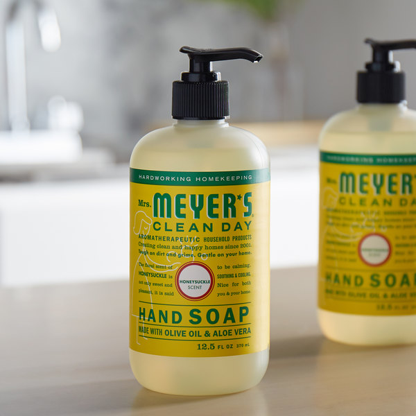 Mrs. Meyer's Clean Day 651378 12.5 oz. Honeysuckle Scented Hand Soap with Pump - 6/Case Main Image 3