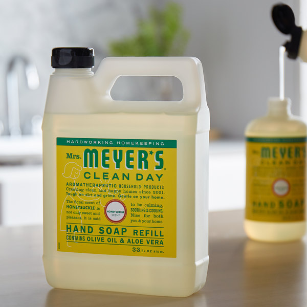 Mrs. Meyer's Clean Day 666708 33 oz. Honeysuckle Scented Hand Soap Refill - 6/Case Main Image 3