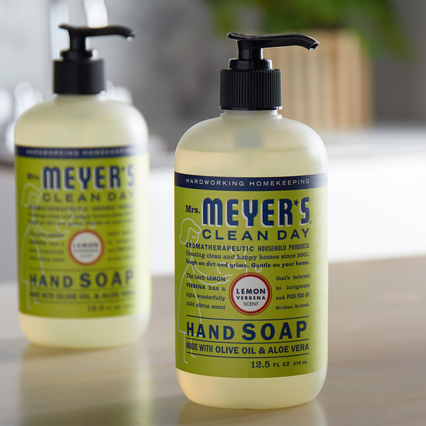 Mrs. Meyer's Clean Day 651321 12.5 oz. Lemon Verbena Scented Hand Soap with Pump - 6/Case Main Image 3