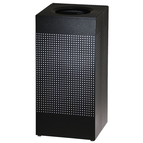 Rubbermaid FGSC14ERBTBK Silhouettes Black Steel Designer Waste Receptacle - 24 Gallon