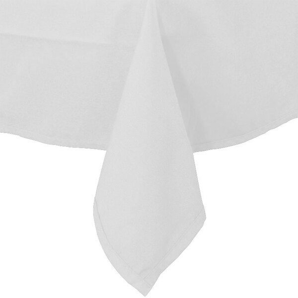 90 inch x 90 inch White Hemmed Polyspun Cloth Table Cover