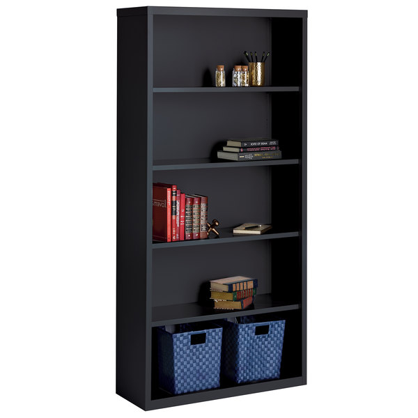 "Hirsh 21996 Black 5-Shelf Welded Steel Bookcase - 34 1/2"" x 13"" x 72"" Main Image 1"