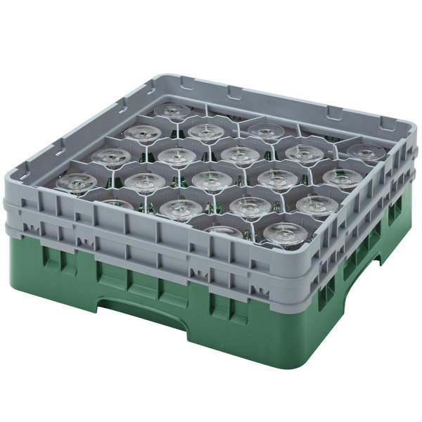 "Cambro 20S638119 Camrack 6 7/8"" High Customizable Sherwood Green 20 Compartment Glass Rack"
