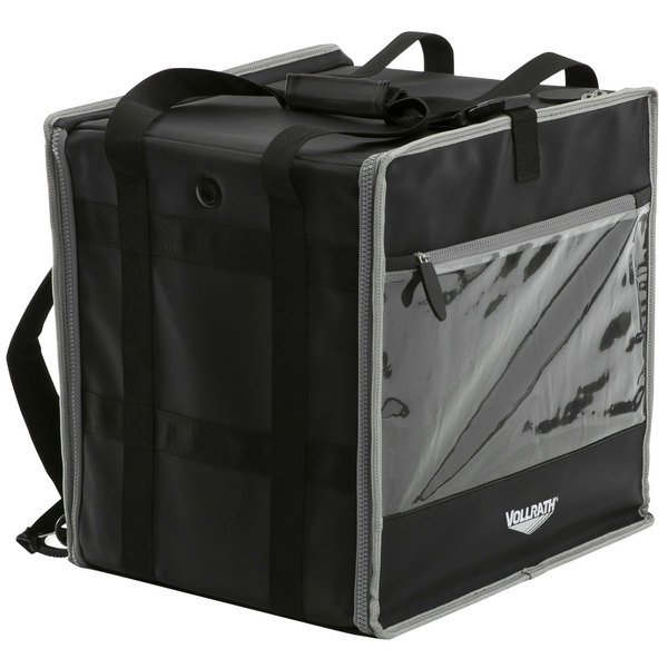 """Vollrath VDBBM300 3-Series 16"""" x 16"""" x 13"""" Black Insulated Nylon Food Delivery Backpack with Integrated Frame"""