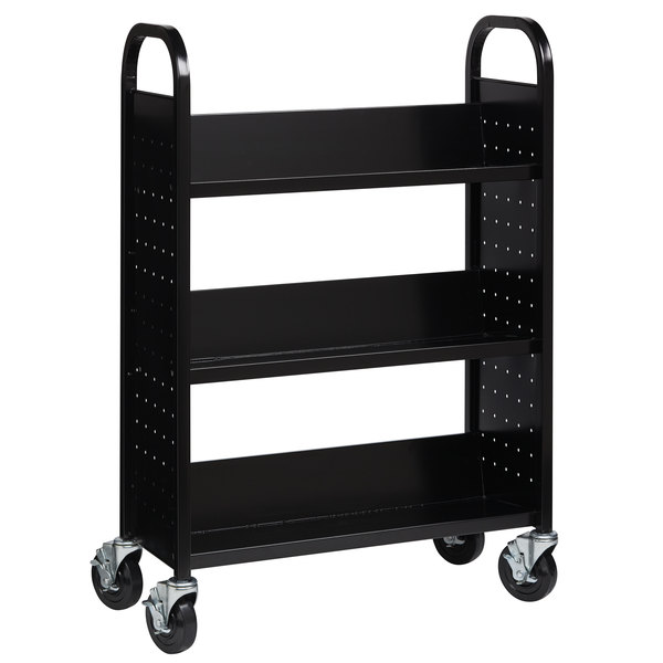"Hirsh Industries 21789 30 3/4"" x 13"" x 46 1/4"" Black 3-Shelf Book Cart Main Image 1"