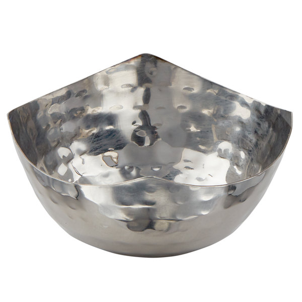 American Metalcraft SBH325 3 oz. Round Hammered Stainless Steel Snack Bowl / Sauce Cup