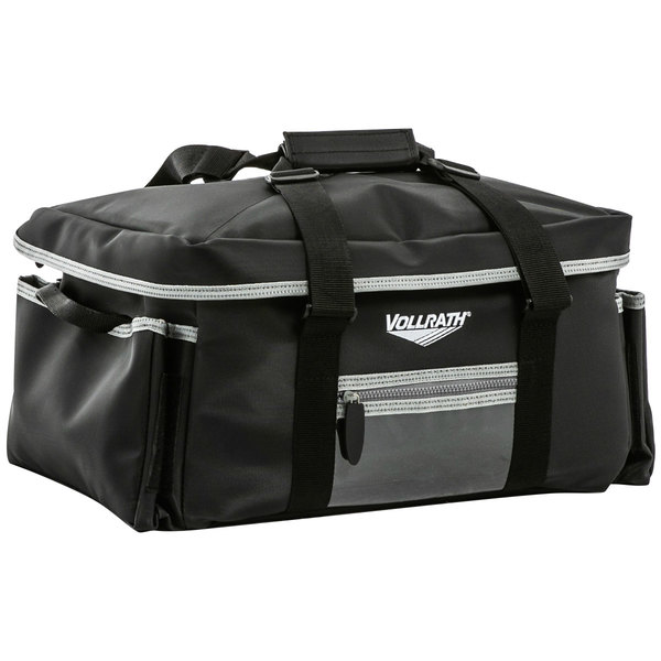 """Vollrath VCBL5P00 5-Series 23"""" x 15"""" x 14"""" Black Large Insulated Catering Bag with Removable Liner, 3 Pan Separators, Heating Pad, and Power Pack"""